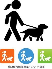 女子走金猎犬图标