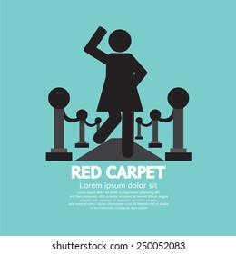 Woman Walking On Red Carpet Symbol Vector Illustration