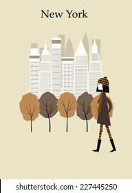 Woman walking in the park in New York. Vector