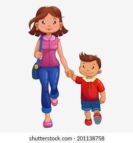 Woman is walking with son, isolated vector/