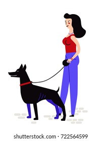 a woman walks with dog. character design. vector illustration