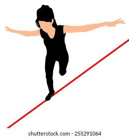Woman walks a high wire, vector