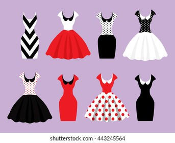 Woman wardrobe accessories set. collection ?of different red, black and white dresses on hanger and mannequin,