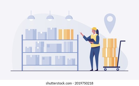 Woman in warehouse checking inventory levels of goods on shelf. . vector illustration