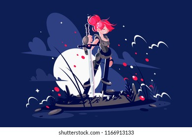 Woman warrior with sword and armor on battlefield in moon light. Vector illustration