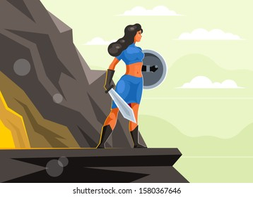 Woman warrior with a sword and shield on top of a mountain near a cave