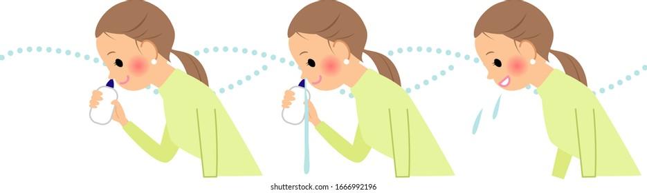 花粉症とウイルスを洗い流す女性