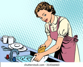 Woman washing dishes housewife housework comfort retro style pop art