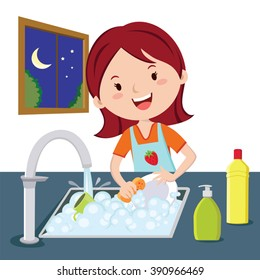 Woman washing dishes. Vector of a woman washing dishes at night.
