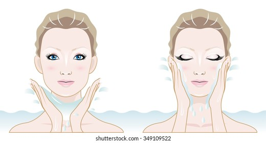 woman washing face with clean water