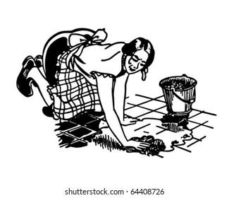 Woman Washing Floor - Retro Clipart Illustration