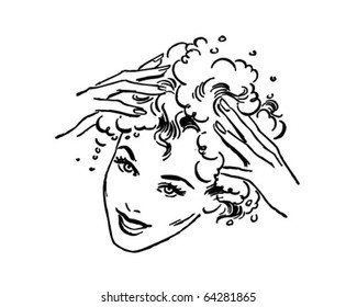 Woman Washing Hair - Retro Clipart Illustration