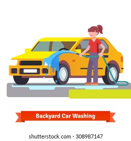 Woman washing her family car with spraying hose in the backyard. Flat style 3d vector illustration isolated on white background.