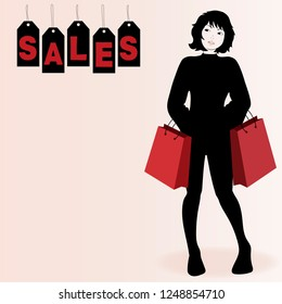 Woman watching the sales. Vector illustration