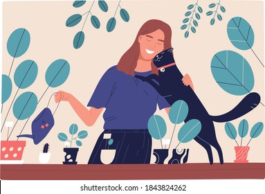 Woman watering houseplants and hugging cute black cat. Scene of love and friendship between human and pet. Smiling female character with domestic animal. Flat vector cartoon illustration