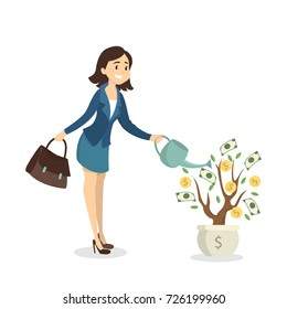Woman watering money tree. Idea of passive income.