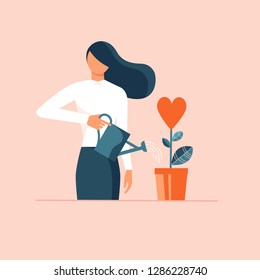 Woman watering plant in shape of heart in flowerpot. Flat design vector illustration concept for charity, help, supporting, work of volunteers