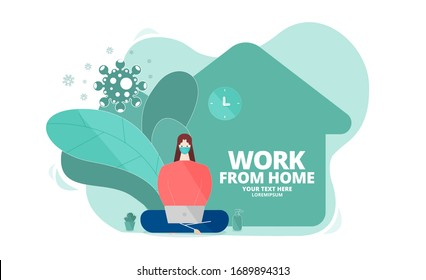 Woman wear mask using laptop at home. Work from home during outbreak of the coronavirus (COVID-19) disease. Concept for stay home on quarantine to avoid virus pandemic spreading. Vector illustrator.