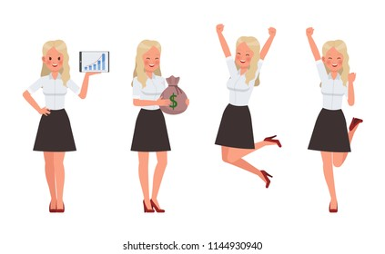 Woman wear white shirt character vector design.