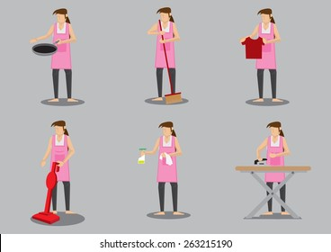 Woman wearing apron doing common household chores. Set of six vector cartoon illustration isolated on grey background.