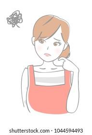 Woman wearing an apron is suffering