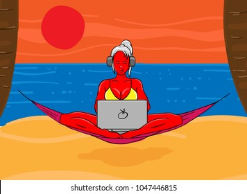 Woman wearing bikini with laptop on her lap. Digital nomad. Vector illustration.