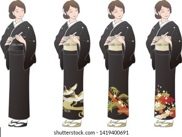 "A woman wearing a black kimono ""Tomesode"". Kimonos for funerals and kimonos worn by wedding attendees."