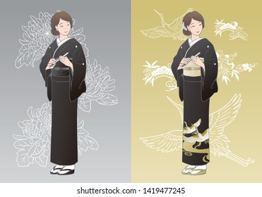 "A woman wearing a black kimono ""Tomesode"". Kimonos for funerals and kimonos worn by wedding attendees."