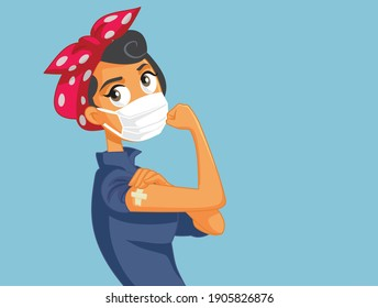 Woman Wearing Face Mask Showing Her Vaccinated Arm. Essential worker getting the anti corona-virus vaccine for workplace safety