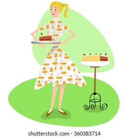 Woman wearing a Fifties style patterned dress presenting a piece of delicious chocolate marzipan cake (Fifties retro style)