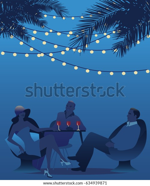 Woman wearing hat drinking red wine under the palms. Retro style summer scene. Vector Illustration