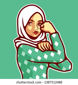 Woman wearing hijab in classic Rosie the Riveter pose. - Vector