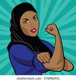 Woman wearing hijab in classic Rosie the Riveter pose. EPS 10 vector.