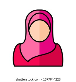 Woman wearing hijab icon flat vector design
