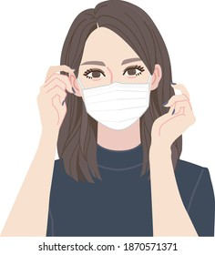A woman wearing a mask. Movement to put on a mask.