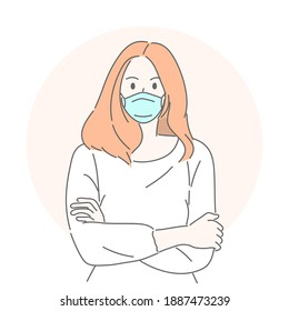 Woman wearing medical mask to protect COVID-19 or prevent disease, flu, air pollution, contaminated air, world pollution concept.