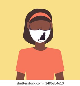 woman wearing protective face mask with cat icon smog air pollution virus protection concept african american girl profile avatar female cartoon character portrait flat