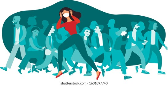 Woman wearing protective medical mask  Crowd of people on background. COVID-19 coronavirus outbreak in Europe concept. flat vector illustration