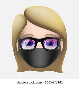 Woman wearing protective Medical mask to prevent virus Novel Coronavirus (2019-nCoV) and air pollution. Vector illustration