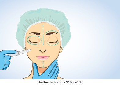 woman wearing surgical caps sleeping for ready to cosmetic surgery. Beautician hands holding surgical scalpel blade ready for surgery on her face marked.