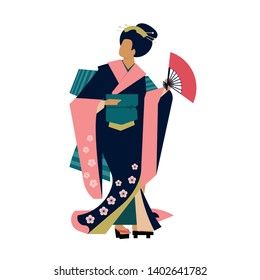 Woman wearing traditional Japanese clothes. Geisha costume kimono. Flower pattern. Hand drawn vector illustration.