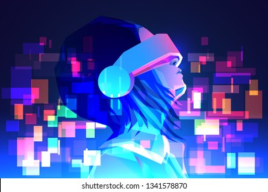 Woman wearing virtual or augmented reality glasses. Abstract vr world with glowing effects. Vector illustration