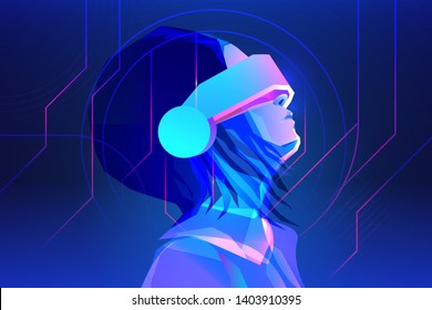 Woman wearing virtual or augmented reality glasses. Abstract vr world with neon lines. Vector illustration
