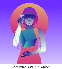 Woman wearing virtual reality headset, consept of futuristic immersive and interactive education or gaming. Cyberpunk retrofuturistic style illustration with neon vibrant color accents.