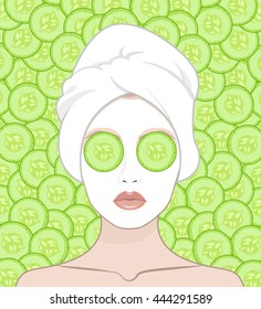 A woman wears a facial mask with a towel on her head, vector flat illustration for instructions. Slices of cucumber lie on the girl's eyes
