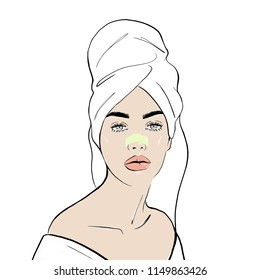 A woman wears a towel on her head with Nose pack, vector illustration for instructions. Blackheads on Nose. Fashion, style, beauty. Graphic, sketch drawing. Stock Vector illustration