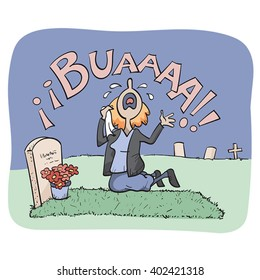 A woman weeping at the grave of a beloved person.
