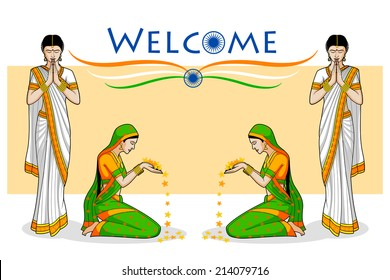 Woman in welcome gesture for Indian festival in vector