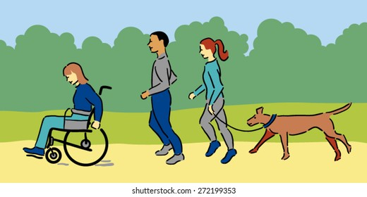 Woman in wheelchair with a man and woman and pet dog exercising outside, blue clothing