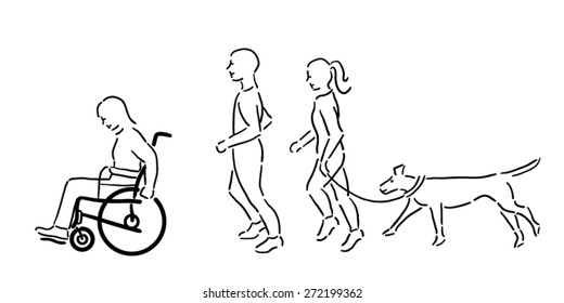 Woman in wheelchair with a man and woman and pet dog exercising outside, black outline